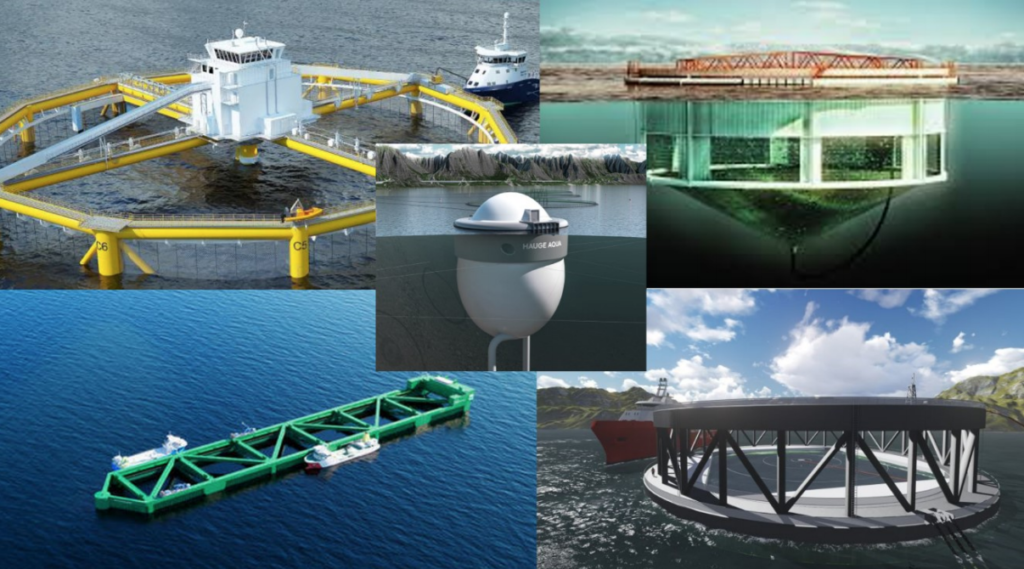 Det pågår en betydelig teknologiutvikling i havbruksnæringen. Stiim og Norsk Industri ønsker testområder for raskere utvikling av havbruk i eksponerte lokaliteter. Illustrasjonen er hentet fra rapporten «Havbruk til havs».