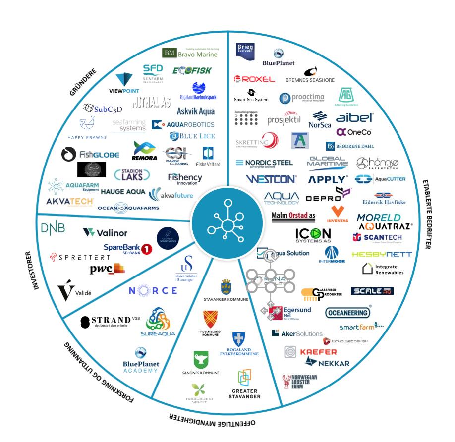 Stiim Aqua Cluster har medlemmer innen fem kategorier: forskning og utdanning, etablerte bedrifter, offentlige myndigheter, gründere og investorer. Til sammen utgjør våre medlemmer et sterkt og innovativt økosystem for teknologiutvikling og vekst.